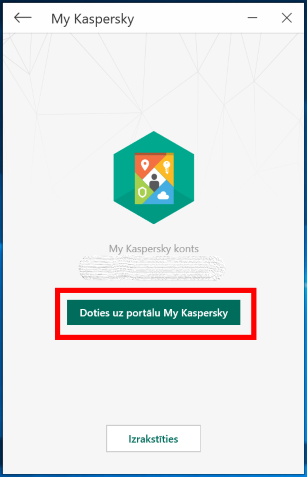 Image: opening My Kaspersky from the Kaspersky Secure Connection interface